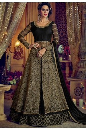 57d6b6e484 Buy Black net and banglori silk party wear Lehenga kameezin UK, USA ...