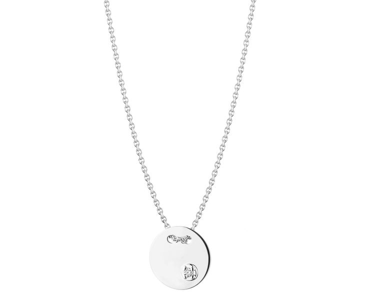 Naszyjnik z białego złota z brylantem - wzór 109.656 / Apart