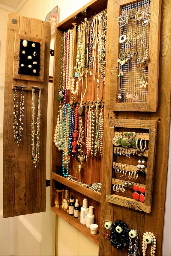 Armoire Jewelry Organizer - Storage Cabinet - Necklace - Cabinet - Wood -  Wooden - Handmade - Furniture - 44 x 20 x 4.5 - Rustic Home Decor - 25+ Best Ideas About Jewelry Cabinet On Pinterest Mirror Jewelry