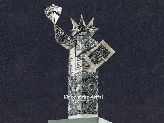 STATUE of LIBERTY Money Origami  $13 on etsy