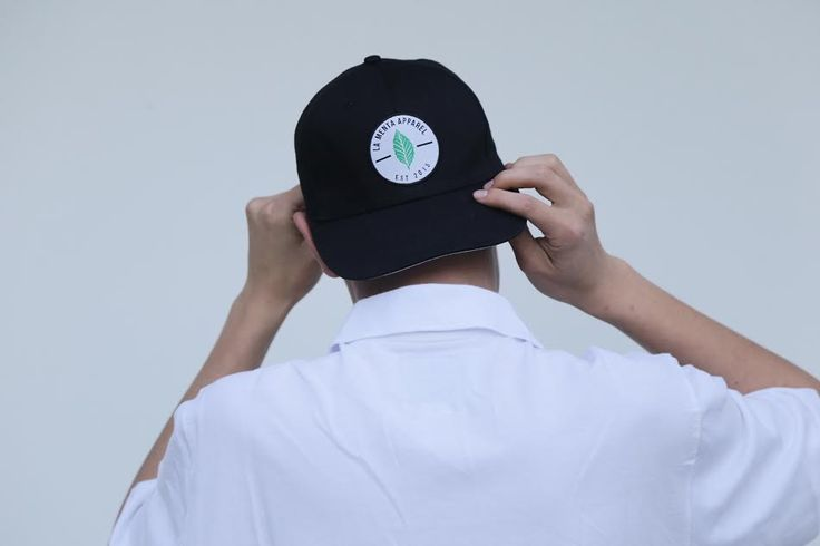 Our 6 panel cap - industrial strength stitching with embroidered mint leaf logo, brown leather strap. lamentaapparel.com