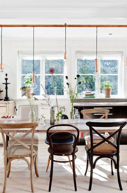 Dining-room#mix&matc#chairs#vintage#table#lamps#industrial#white#brown#black#wood
