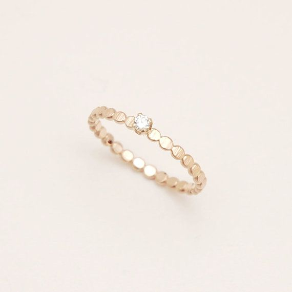 Diamond ring with hammered bead band in 14k yellow gold, engagement ring, solitaire ring