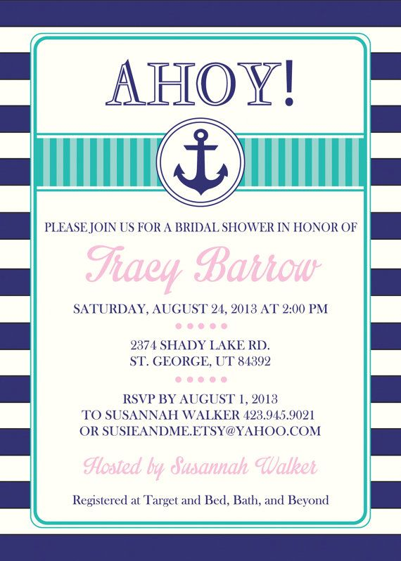 16 best Nautical Bridal Shower Invitations images on Pinterest