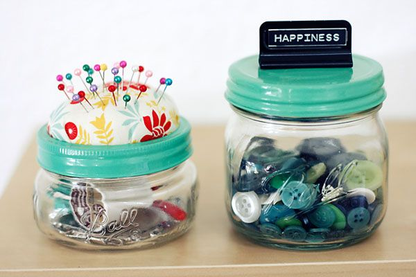 Easy, No-Sew, Jar Lid Pincushions by Julie Comstock Cute and quick