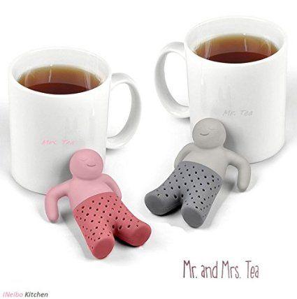 iNeibo tee ei aus Hochwertigem Silikon - lustiges tee set - geruchloses teesieb - mr tea infuser ist ein toller tee geschenkset für tee liebhaber (2er/set)
