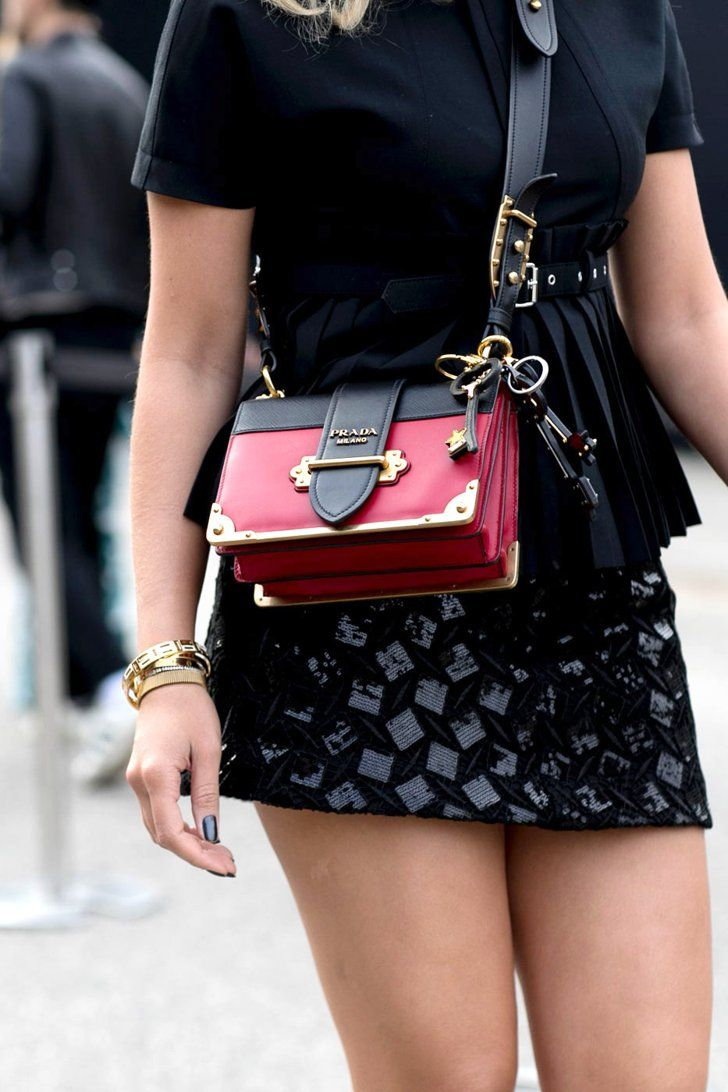 Check Out the Flashy Street Style Accessories Taking Over Milan Fashion Week Day 3 Prada Bag