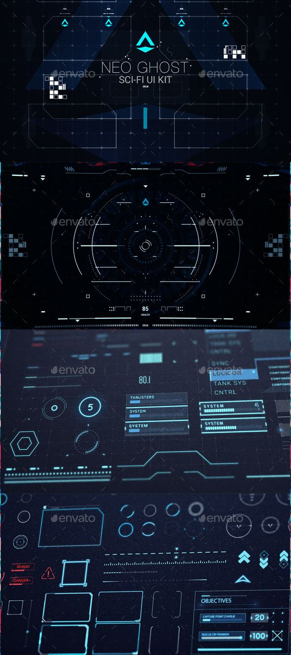 Neo Ghost - Sci Fi UI / HUD Kit - PSD, Transparent PNG, Layered PNG, Vector EPS