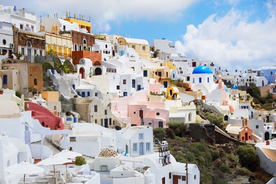 Santorini. I was there over 25 years ago. I hope to go again... soon! Houses in Fira, the island capital
