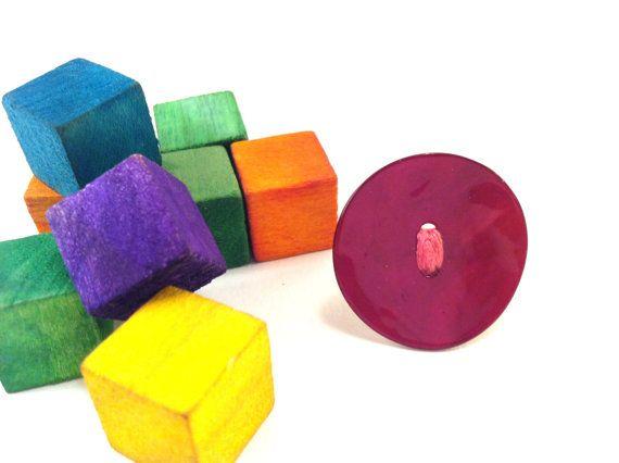 Pink fuchsia shell button ring