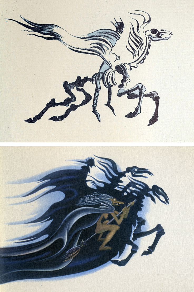 """Kay Nielsen's designs for the 'Night on Bald Mountain' sequence from Disney's """"Fantasia"""" (1940)"""
