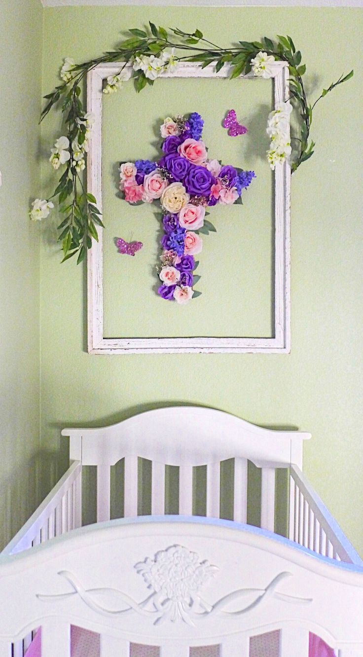 94 best baptism wall cross girl images on pinterest easter decorations easter decor easter decor ideas easter gift floral wall cross negle Images