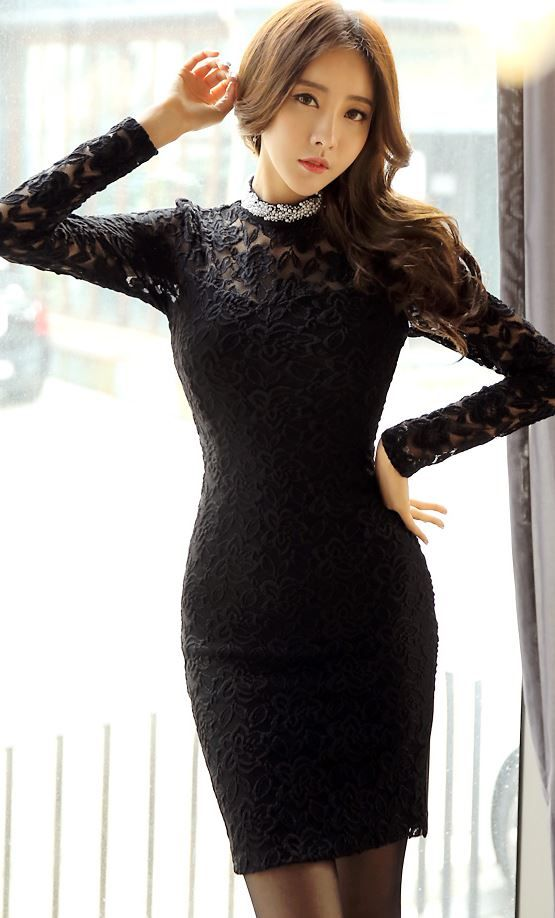 StyleOnme_Beaded High Neck Laced Dress #beaded #laced #dress #feminine #sexy #louisangel