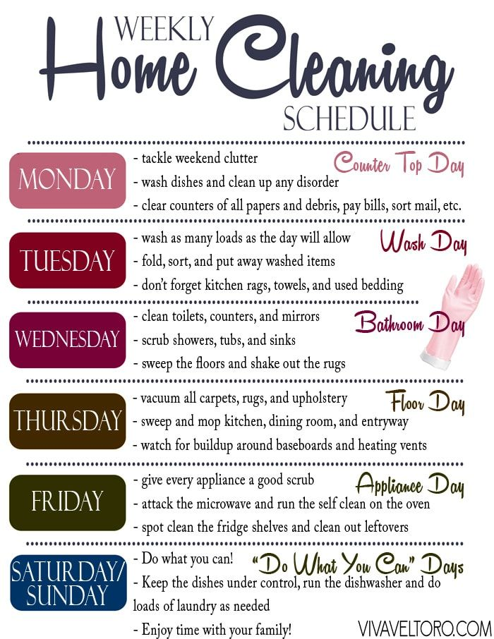 An efficient weekly home cleaning schedule that's easy to follow! Grab this FREE printable to help keep your home clean and tidy.