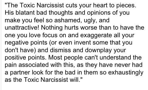 the toxic narcissist cuts into your soul...destroying you piece by piece. Faults you have plus some you don't.Because nothing is ever their fault.