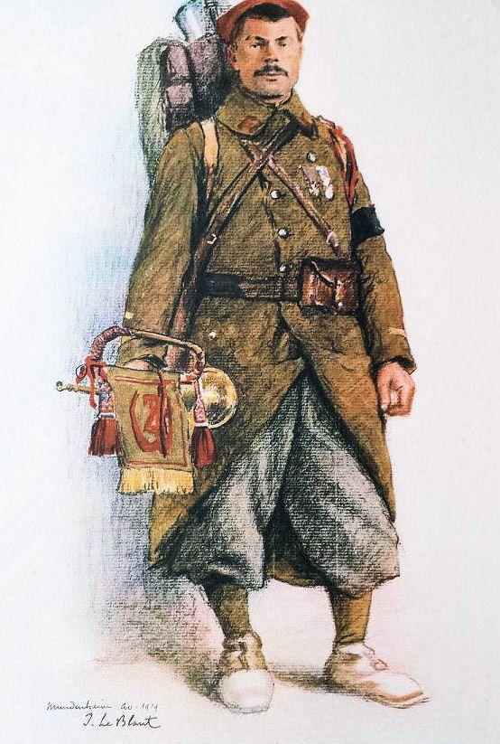 Les troupes coloniales en Rhénanie |  PAGNY Henri, Classe 1911, cammionneur, Arras, Sergent clairon, 8ème régiment de Zouaves, Mundenheim, avril 1919
