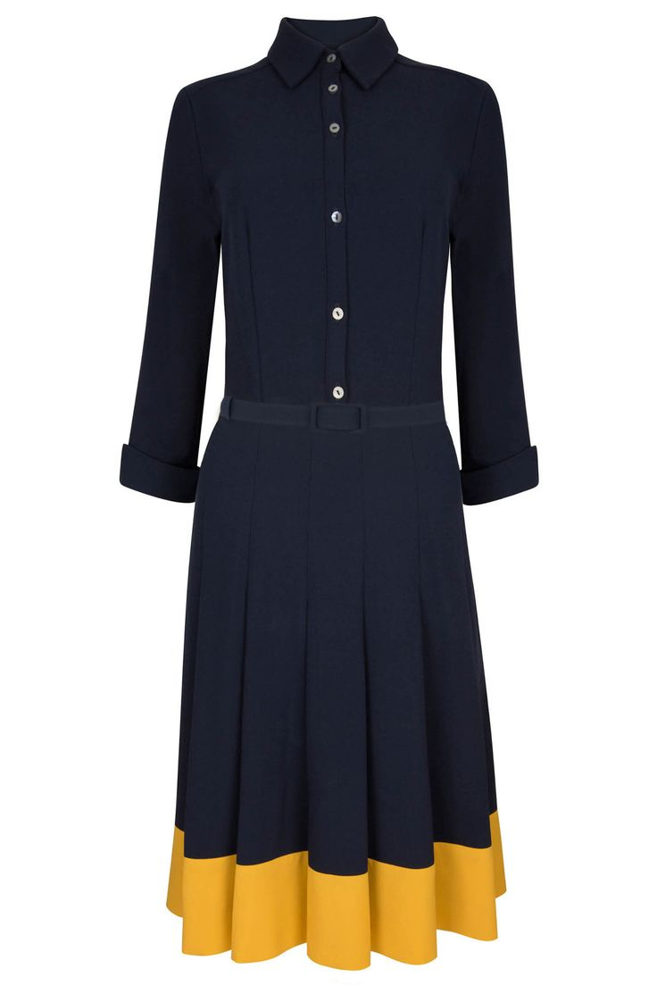 Lewis Dress Navy & Yellow | Libby London