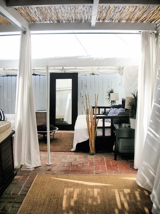 Outdoor Patio Covered With 24x12 And Bamboo Trellis Entrance With White  Drapes #outdoorcurtains #patiopanels