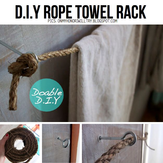 DIY Rope towel rack--for our kraft paper roll in the kitchen