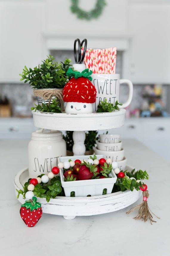 Strawberry Bead Garland Beaded Kitchen Decorations
