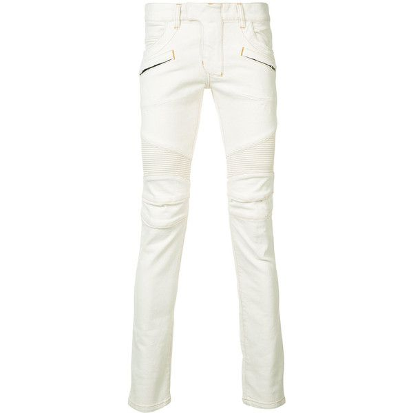 Balmain Skinny Biker Jeans (1,840 CAD) ❤ liked on Polyvore featuring men's fashion, men's clothing, men's jeans, white, mens skinny fit jeans, mens white skinny jeans, mens skinny biker jeans, mens skinny jeans and mens biker jeans