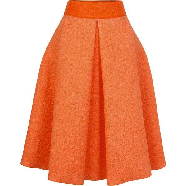 Roksanda Ilincic Short Wool Alia Skirt (949.925 CLP) ❤ liked on Polyvore featuring skirts, mini skirts, terracotta, wool skirt, high waisted mini skirt, high waisted pleated skirt, high-waisted skirts and red mini skirt