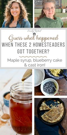 baking with maple syrup | blueberry cake | maple blueberry cake in cast iron | cake in cast iron | Melissa K. Norris | Pioneering Today podcast | homesteading | DIY backyard maple syrup | simple living | farm to table | tap to table