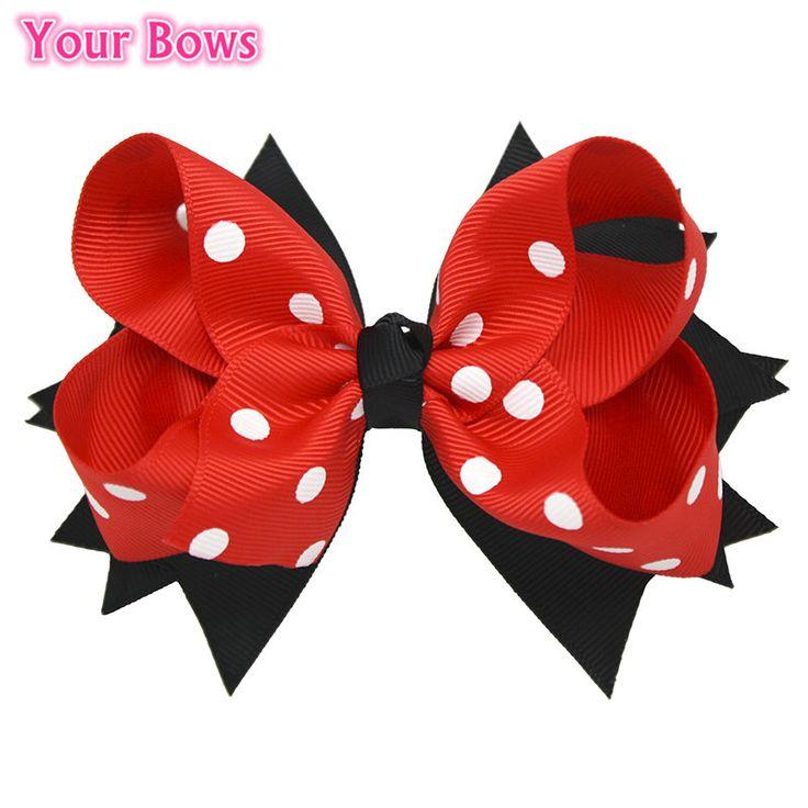 1 adet 5 inç büyük polka dots hair bows lacivert kırmızı firkete Yığılmış Butik Çocuk Yaylar Saç Klipleri Kızlar Saç Aksesuarları Için