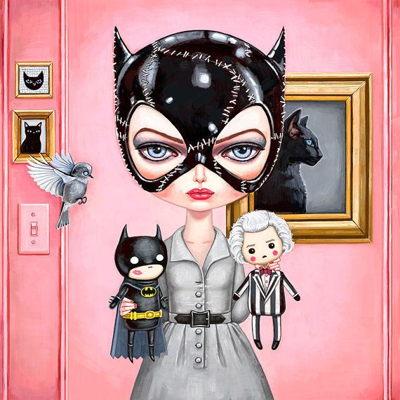 "Catwoman Art Print - 8""x8"" - Batman Returns, Tim Burton, Selina Kyle, big eyes, pop art, comic book, superhero, girl, Gotham girls, geek"