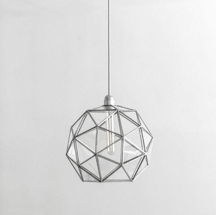 Stereometric Universe Big Geometric Chandelier / Pentakis Dodecahedron Glass Lighting / Warm Vintage Bulb Lamp / Retro Modern Pendant Lights by StereometricDesign on Etsy https://www.etsy.com/listing/502531570/stereometric-universe-big-geometric