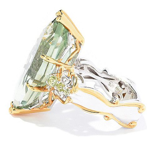 169-529 - Gems en Vogue  13.13ctw Marquise  Shaped Prasiolite  & Peridot Limited  Edition Ring