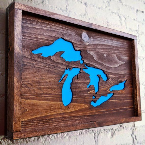 Great Lakes Wooden Wall Decor Made In Michigan Wooden Wall Decor Wooden Walls Conversation Piece