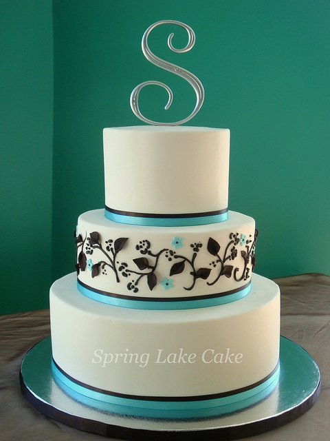 Swoon!  Brown and Aqua wedding cake by springlakecake, via Flickr