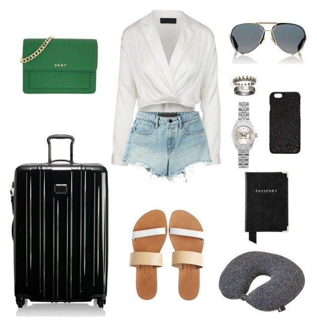 """Travel Chic"" by lilasiaan on Polyvore featuring Annoushka, Cartier, Rick Owens, T By Alexander Wang, Isapera, Tumi, DKNY, Givenchy, Rolex and HAY"