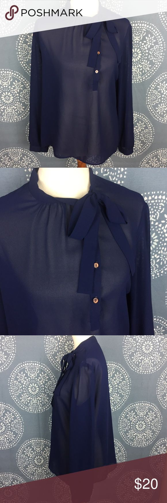 "Vintage Philippe Marques Sheer Navy Blouse Philippe Marques long sleeve sheer navy blouse. It has a high collar with a tie and asymmetrically place buttons on the left side. It is polyester and in great condition.  21"" armpit to armpit 26"" long Philippe Marques Tops Blouses"