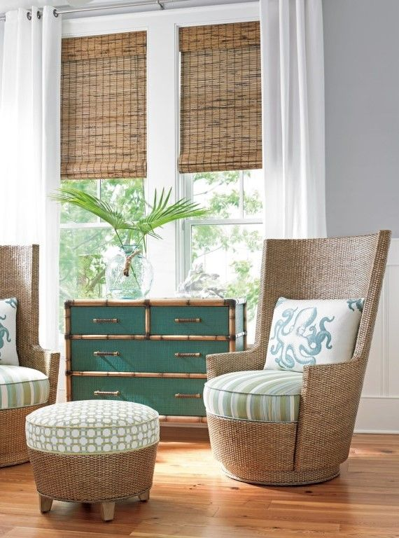 Twin Palms Teal Raffia Accent Chest with Protective Glass Top by Tommy Bahama Home at Baer's Furniture
