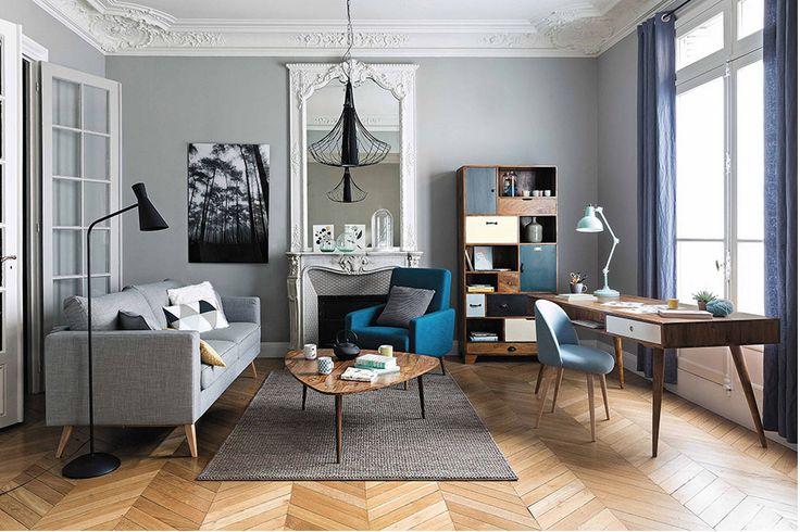 Salón estilo neoyorkino. Piezas pequeñas de parquet, combinadas para efecto rústico e informal.