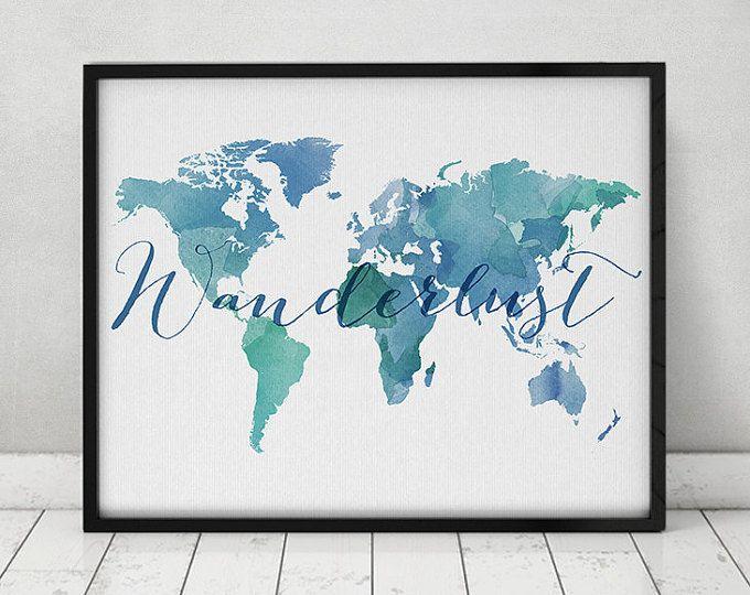 Wanderlust, World map acquerello stampa, poster mappa mondo, viaggio Mappa acquerello, arte della tipografia, Acquerelli digitali stampato, ArtPrintsVicky.