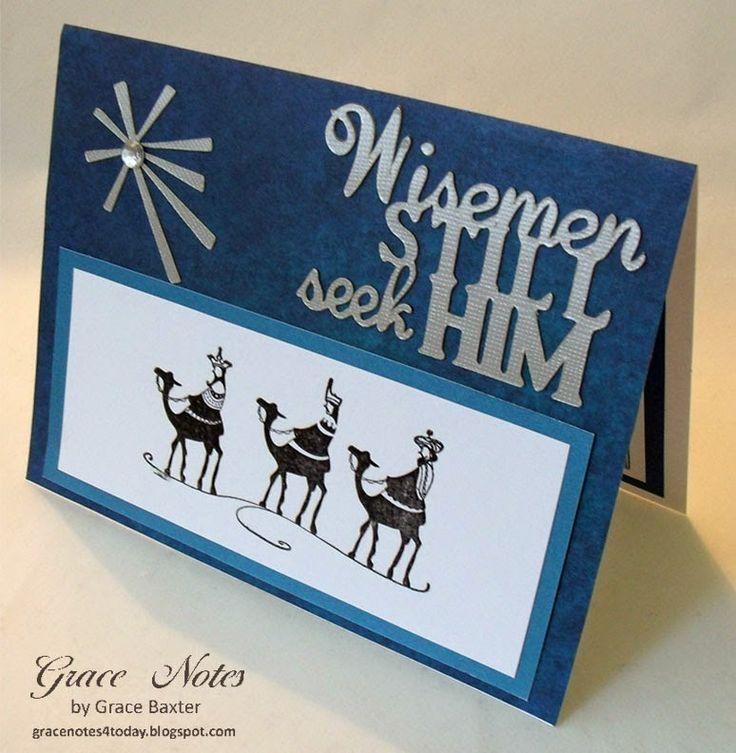 Wisemen Still Seek Him, Christmas card with stamped, heat embossed wisemen. Details on the blog.