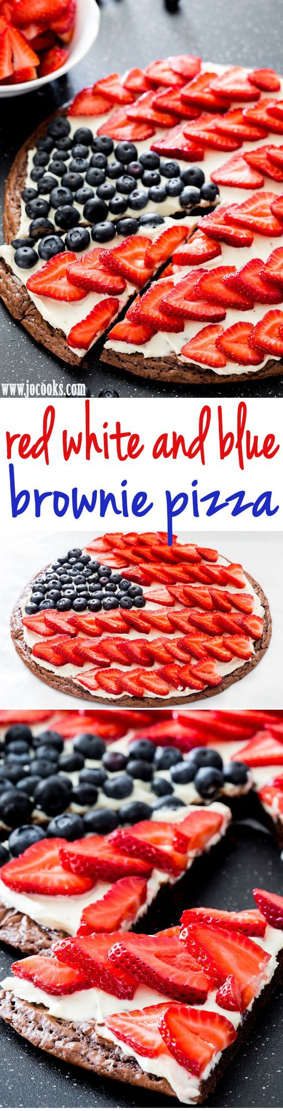 Red White and Blue Brownie Pizza - the perfect dessert for your 4th of July celebration. A delicious brownie crust topped with a cream cheese frosting and loaded with berries! | Jo Cooks