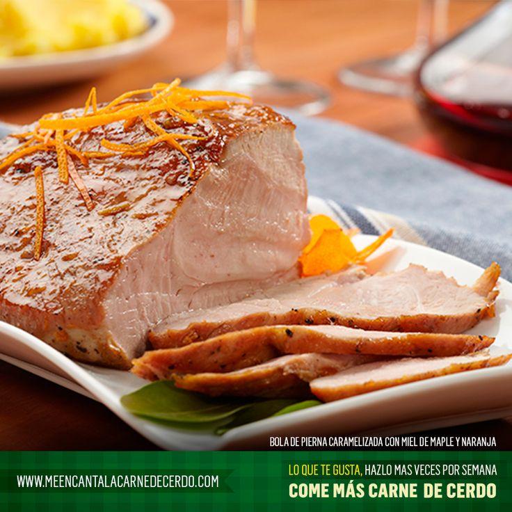 Bola de pierna caramelizada con miel de maple y naranja. Tomado de: www.meencantalacarnedecerdo.com