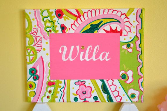 Brighten your little ones room with this Paisley Name Canvas Design. Select your three colors to match any childs room decor. Name canvases are a perfect