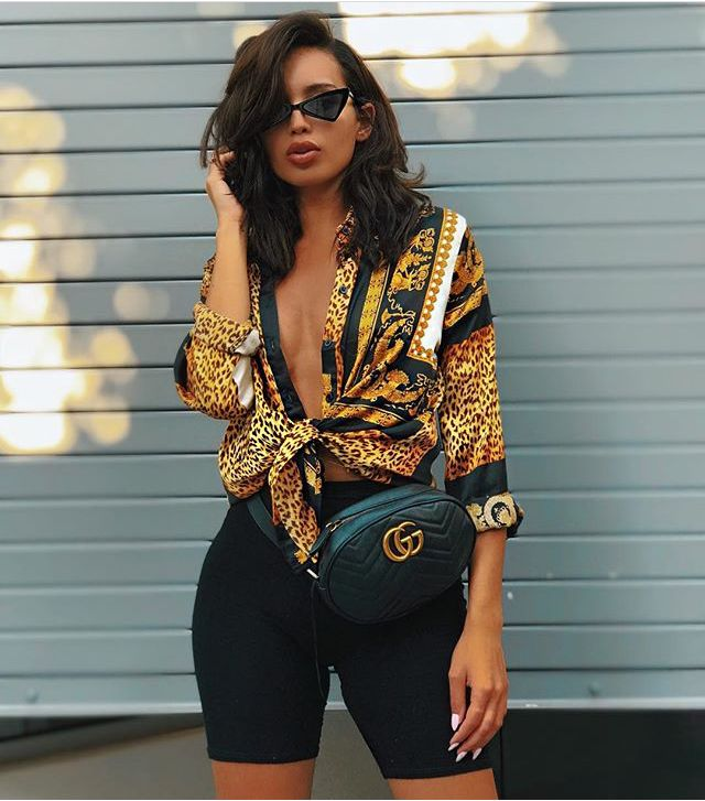 7e6624352 Biker shorts   crop top   gucci belt   fannypack outfits   summer style    summer fashion   spring fashion