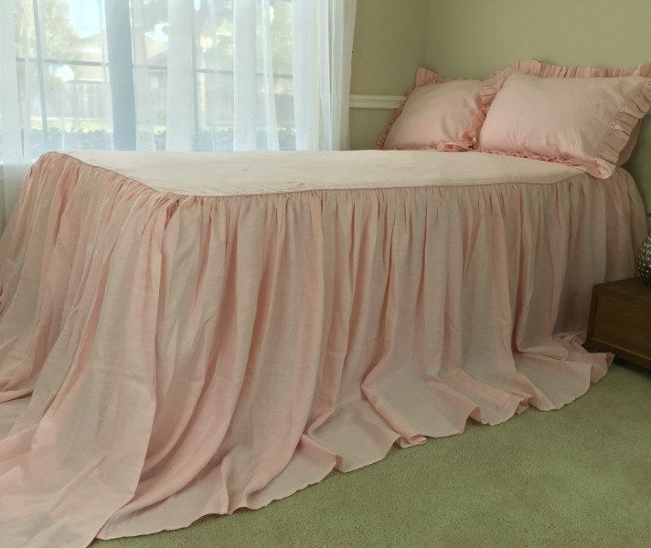 New to CustomLinensHandmade on Etsy: Pink Linen Bedspread Ruffled Bed Cover Handmade in Natural Linen Pink Bedding queen bedspread king bedspread twin bedspread (237.00 USD)