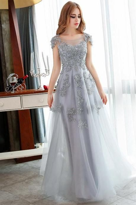 Pretty Grey Applique And Beading tulle Evening Dresses Handmade A-Line Formal Women Prom Gowns