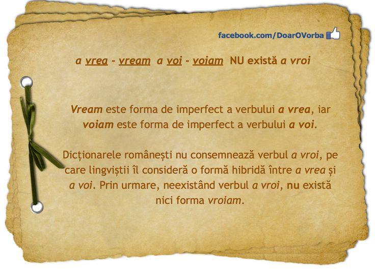 vrea1 (a ~) vb., ind. prez. 1 sg. vreau, imperf. 1 sg. vream.  Sursa: DOOM 2 (2005)