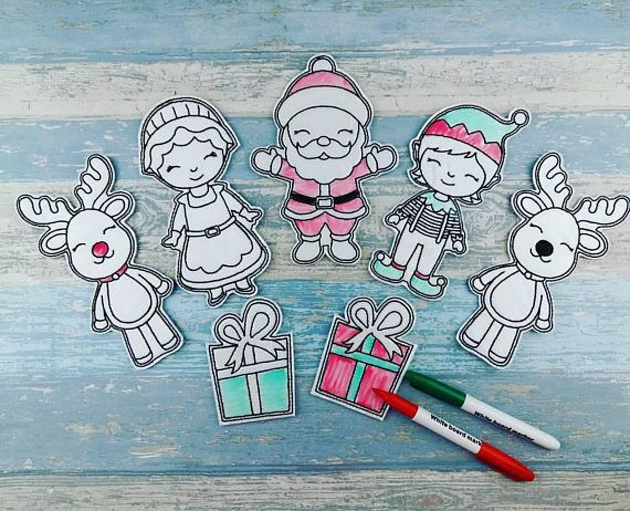 Christmas Santa Colouring Dolls - Toddler Fun - Doddle-it Dolls - Party Favor - Travel Reusable Art Coloring - Birthday Gift - Christmas