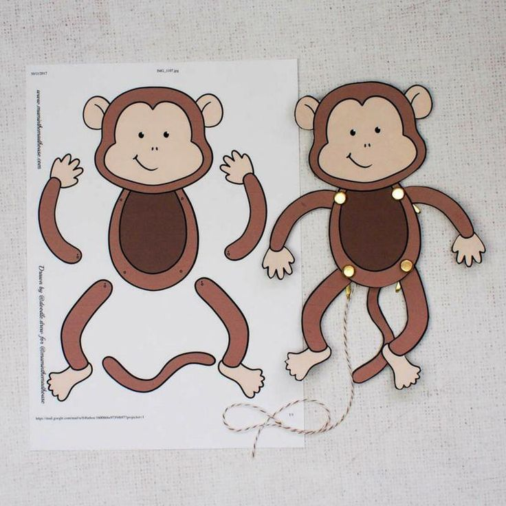 Easy Monkey Paper Puppet With Templates Mum In The Madhouse Easyartsandcrafts In 2020 Affe Basteln Tiere Basteln Hampelmann Basteln