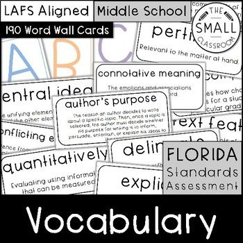 This set of 190 FSA (Florida Standards Assessment) vocabulary word wall cards will help your students prepare and practice for their upcoming reading test. It includes common vocabulary and phrases used in FSA released tests and in the LAFS (Language Arts Florida Standards).