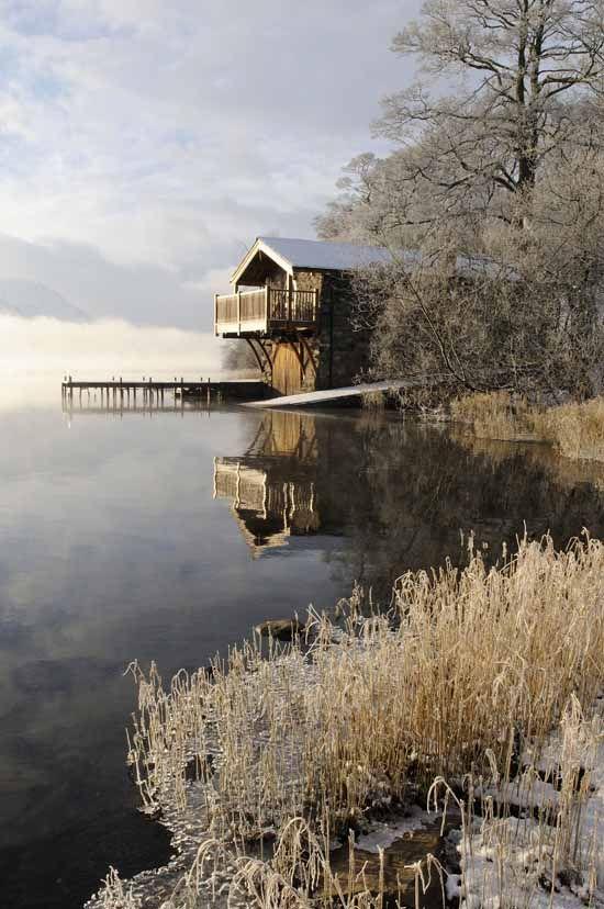 Ullswater, Duke of Portland boathouse. Wintry view along the lake shore near Pooley Bridge | Val Corbett Photography